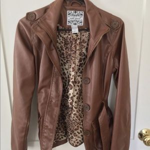 Faux Leather Coat worn in photoshoot